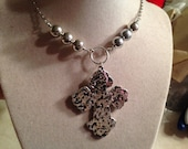 Cross Necklace - Silver Cross Jewelry - Statement Necklace - Chunky Jewellery - Chain - Fashion - Religious