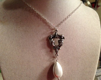 White Pearl Necklace - Silver Jewelry - Pendant Jewellery - Chain - Long - Fashion - Style - Wedding