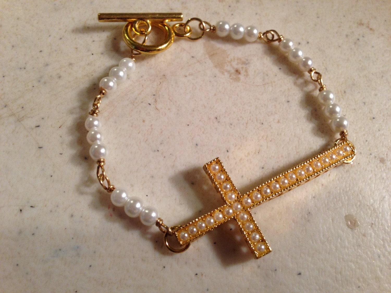 Pearl Bracelet - Cross Jewelry - Gold Jewellery - Wedding - Wire ...