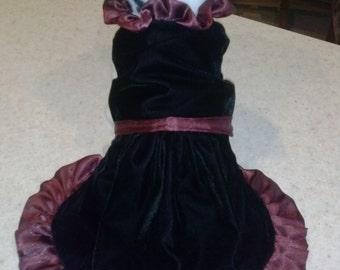 Black Velvet Dress with Burgandy Satin Ruffle Formal Dress Red Carpet Dog Dress