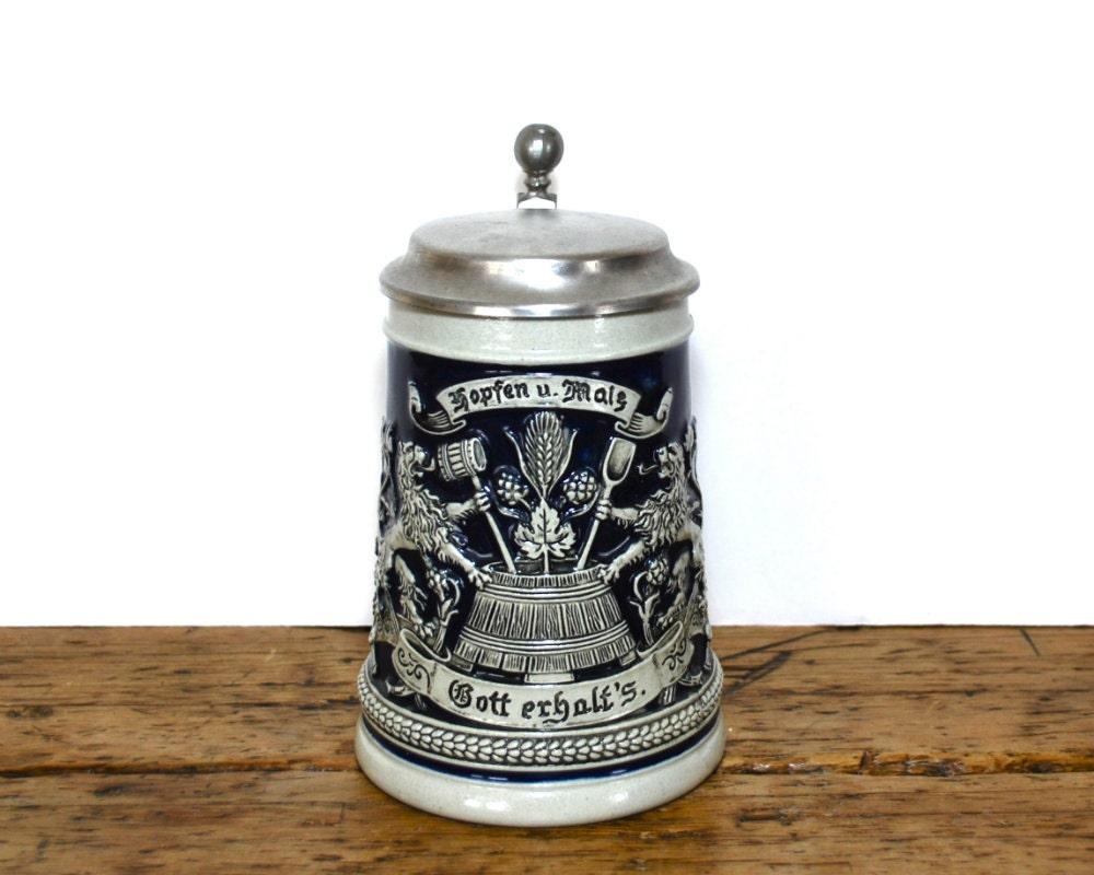 Vintage Gerz Beer Lidded Stein Malt Hops by RosaMeyerCollection