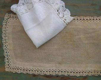 Vintage Linen aged patina primitive shabby cottage crochet edge