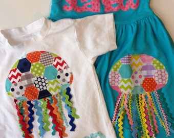 Summer Matching Set, Jellyfish Applique, Beach Outfit, Brother Sister Sibling Set