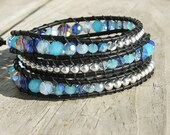 Handmade Leather Wrap Bracelet -Blue faceted crystals and silver beads on leather