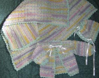 3-6 Month Baby Set: Jacket, Bonnet and Blanket
