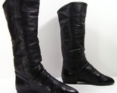 vintage knee high fashion boots womens 6 M B black leather fashion slouch pirate