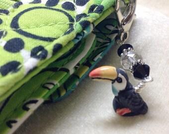 Toucan Beaded Zipper Pull Charm - Key Chain Charm - Crochet Stitch Marker - Bird Jewelry