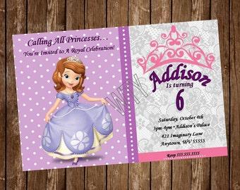 DISNEY PRINCESS SOPHIA Invitation Card, free customization, printable Hi-Res Design