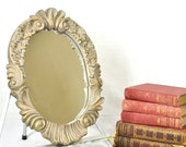 Vintage Oval Wall Mirror Small Ornate Hollywood Regency Scrolling Silver Gray & Gold Wall Hanging