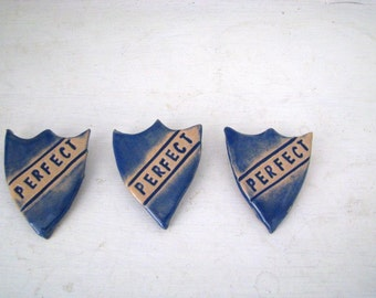 Perfect prefect badge. Handmade Ceramic. School blue. Made in wales, UK