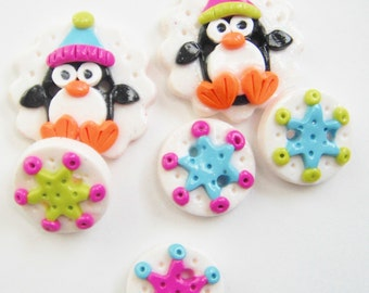 Button Winter Penguin handmade polymer clay button set ( 6 )