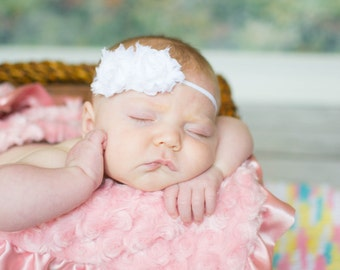 Baby Headband, Newborn Headband, White Headband, Girls Headband, Shabby Chic Flower Headband, Photography Prop, Baby Hair Accessories