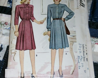 Vintage 1940s McCall Pattern 5372 for Misses Dress Size 12, Bust 30