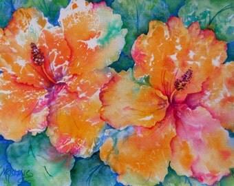 Peach Hibiscus Tropical Watercolor by Martha Kisling