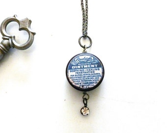 Handcrafted Rawleigh's Ointment Tin Pendant / Necklace w/Bonus Key