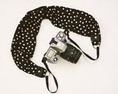 Scarf Camera Strap - Black with Vanilla Polka Dots - dSLR Camera Strap