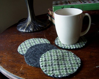 Green Houndstooth Reversible Coaster- Set of 4