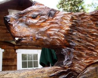 Beaver on Log 3ft. long chainsaw carving wildlife original wooden wall mount or ground stand nature lover's art detailed Todd Lynd decor