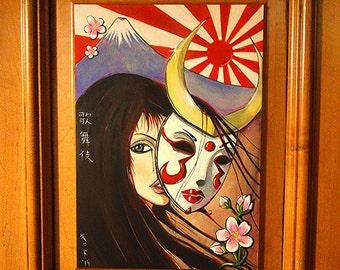 "14.5"" x 17.5"" Original Painting- Kabuki Mask"