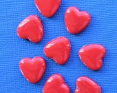 25 Red Heart Beads Colorful Kitschy Fun K156