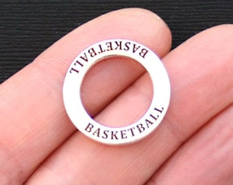 4 Basketball Charms Antique  Silver Tone Affirmation Circle- SC2934