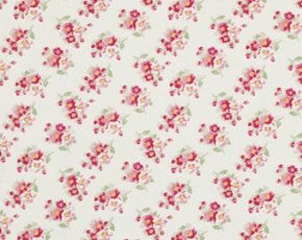 Tanya Whelan Fabric, Cherry Blossom in Ivory, Rosey, Designer Fabric By The Yard, One Yard
