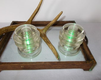 Vintage insulators, set of 2 clear Hemingray 56, night light, bookends, candle holder, wedding supplies, vintage industrial, cottage decor