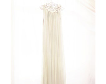 SALE Dress Elven Jazz Age Rehearsal Dinner Gown Great Gatsby Ivory Breakfast at Tiffanys Pearl Rosette White Dress Medieval Grecian Flowy