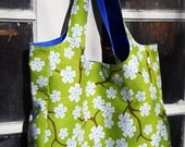 RESERVED for TORI -- Farmer's Market Tote Bag -- green with white blossoms