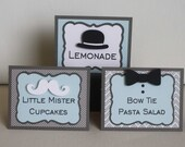 Little Man Food Labels - Baby Shower or First Birthday, mustache, bow tie, and bowler hat, set of 6