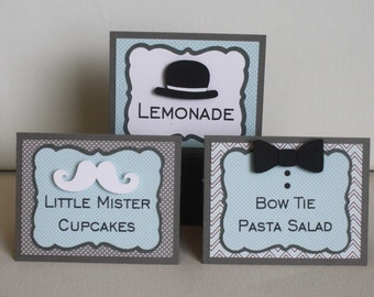Little Man Food Labels - Baby Shower or First Birthday, mustache, bow tie, and bowler hat, set of 12