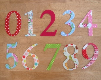 4 shabby chic iron on fabric numbers 10cm number appliques made to order choose your digits and fabrics ships from uk
