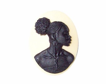 1pc 25x18mm Ivory Black African American Resin Cameo jewelry findings cameo jewelry supply 733x