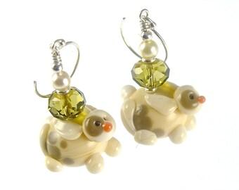 Bunny Rabbit Earrings, Animal Lampwork Earrings, Glass Bead Jewelry, Ivory Easter Earrings, Dangle Drop Glass Earrings, Lampwork Jewelry