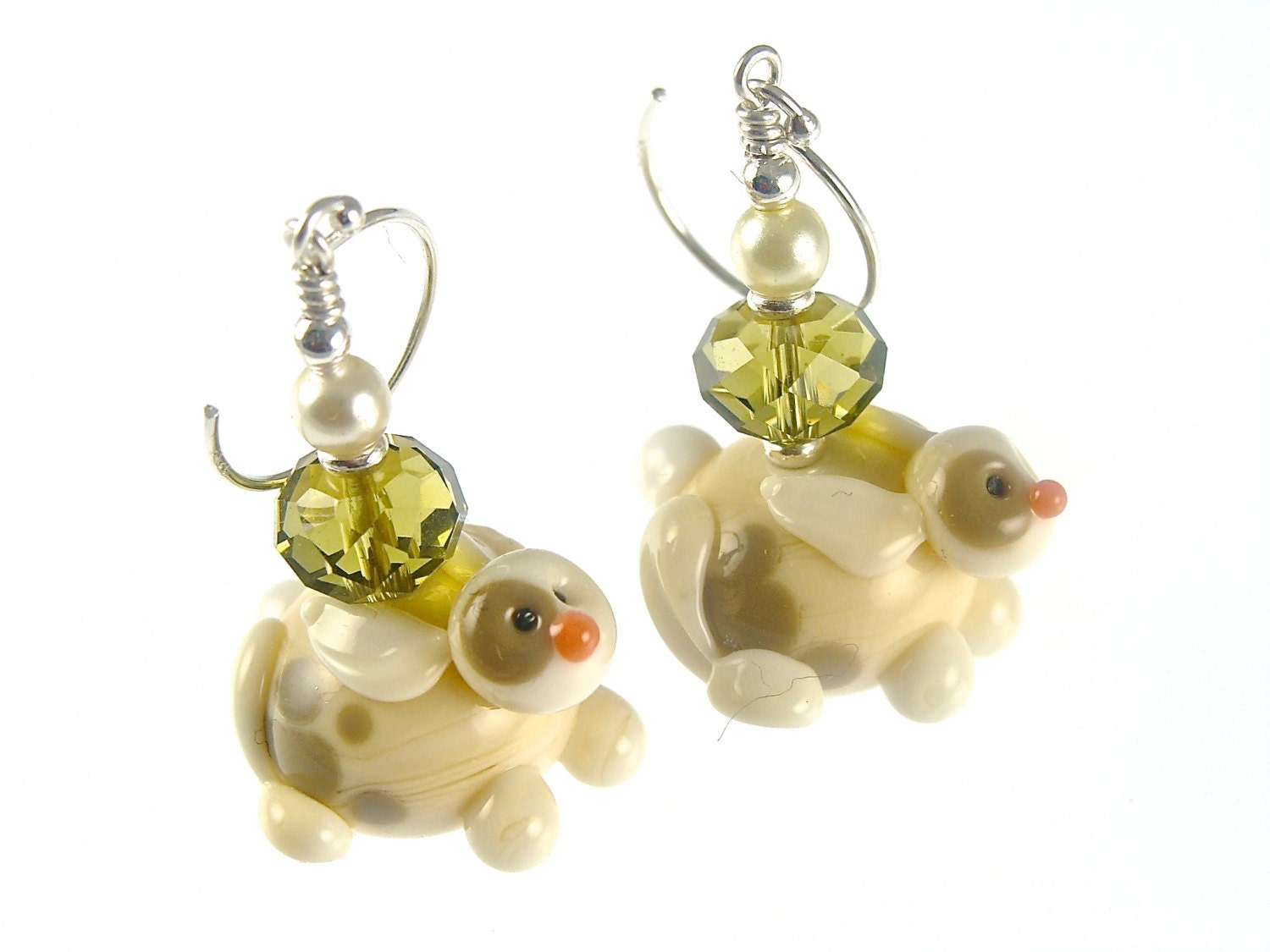 bunny earrings bunny rabbit earrings animal lwork earrings glass bead 6581
