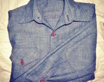 Classic Men's Button down shirt with wooden buttons and elbow patches- custom made to measure