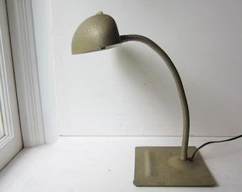 Vintage Industrial Gooseneck Desk Lamp - Gold Grey