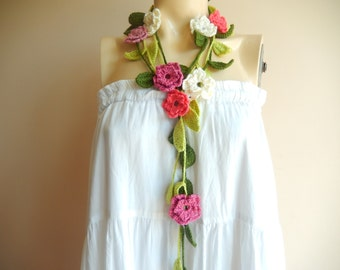 Crochet Scarf-Flower Necklace Scarf-Lariat Scarf-Handmade Long Scarf
