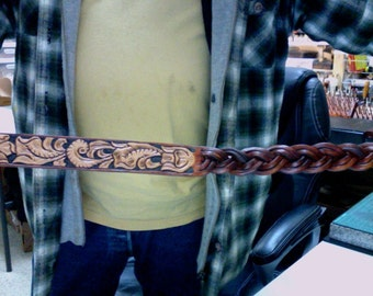 Leather Belt / Western / Hand carved and tooled / Woven / Barded / Leather Belt / Men / Women