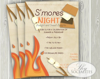 S'mores Invitation | Smores, Camping Invitation, Campfire, Bonfire, Smores Party, Marshmallows | Summer Night | Sleepover | INSTANT DOWNLOAD