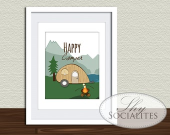 Happy Camper Art Print | Camp Trailer, Teardrop Trailer, Trailer Art, Mountains, Smores, Digital Art, Wall Art, Print and Frame, 8 x 10, DIY