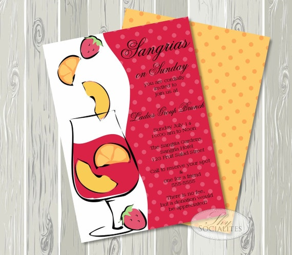 Sangria Wedding Invitations: Sangria Invitation / Bridal Shower Brunch / Champagne
