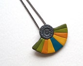 Romantic oriental fan necklace semi-circle polymer clay silver robin egg blue teal sunny yellow ocher banana green olive green pendant
