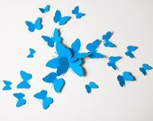 3D Wall Butterflies, Turquoise Blue Butterfly Silhouettes for Home Decor, Nursery, Children's Room