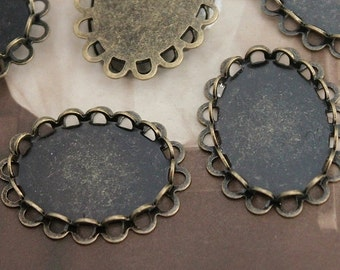 10PCS 13x18mm antique bronze Plated Brass Double Lace Edge Cabochon  Base frame Base for making photo necklaces and pendants(SETHY-172)