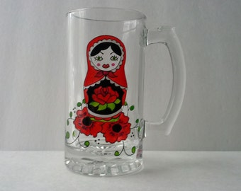 Hand painted beer mug: Matriochka design