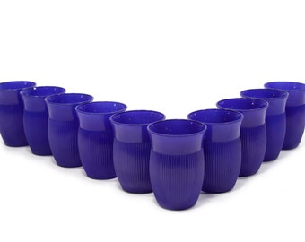 Set of 10 Drinking Glasses - Cobalt Blue - Vintage - Juice Glasses - Painted - 1950's - 1960's