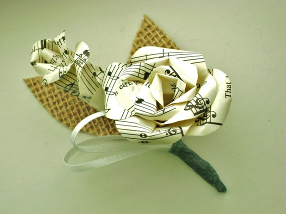 vintage sheet music paper rose and bud boutonniere buttonhole with burlap leaves for weddings and proms