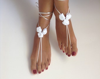 white barefoot sandles, ribbon roses , wedding ,Bikini , Women , Beach , Bridal Sandals , Bridal Jewelry ,shoes , READY TO SHIP