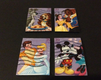 Four (4) Recycled Postage Magnets: Disney, Mickey Mouse, Minnie Mouse, Beauty and the Beast, Lady and the Tramp, Cinderella